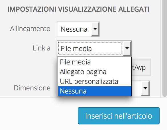 rimuovere automaticamente il link delle immagini in un articolo wordpress